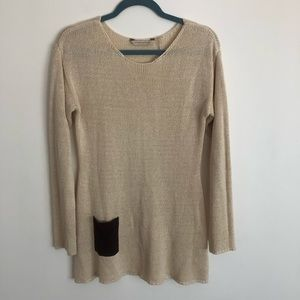 Soft Surroundings Cream Sweater with Pocket Detail